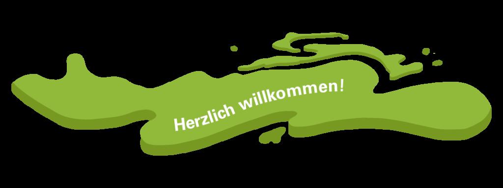 Grafik: Herzlich willkommen-Bubble